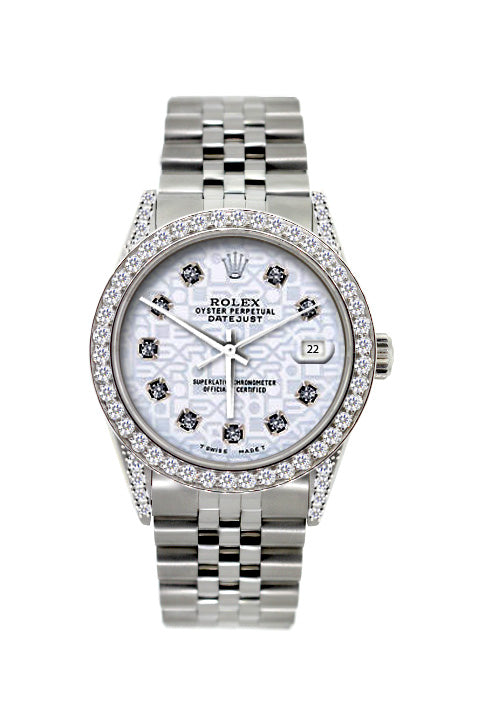 Rolex Datejust Diamond Watch, 36mm, Stainless Steel Light Blue Dial w/ Diamond Bezel and Lugs