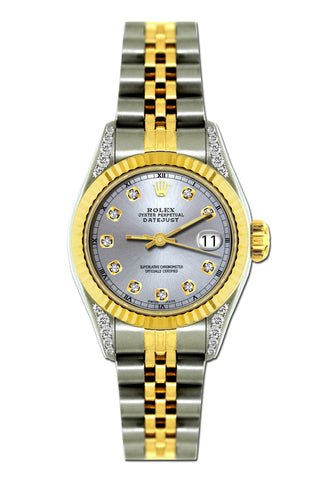 Rolex Datejust 26mm Yellow Gold and Stainless Steel Bracelet Lavender Dial w/ Diamond Lugs