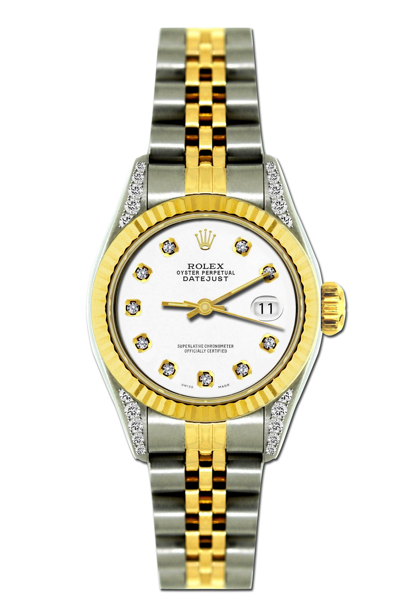 Rolex Datejust 26mm Yellow Gold and Stainless Steel Bracelet Lilac Dial w/ Diamond Lugs