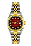 Rolex Datejust 26mm Yellow Gold and Stainless Steel Bracelet Red and Black Dial