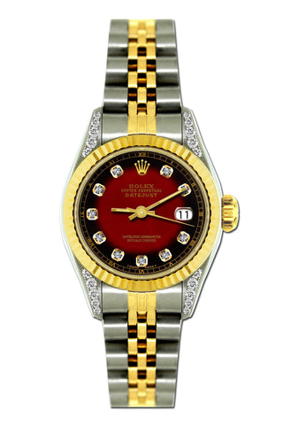 Rolex Datejust 26mm Yellow Gold and Stainless Steel Bracelet Red and Black Dial w/ Diamond Lugs