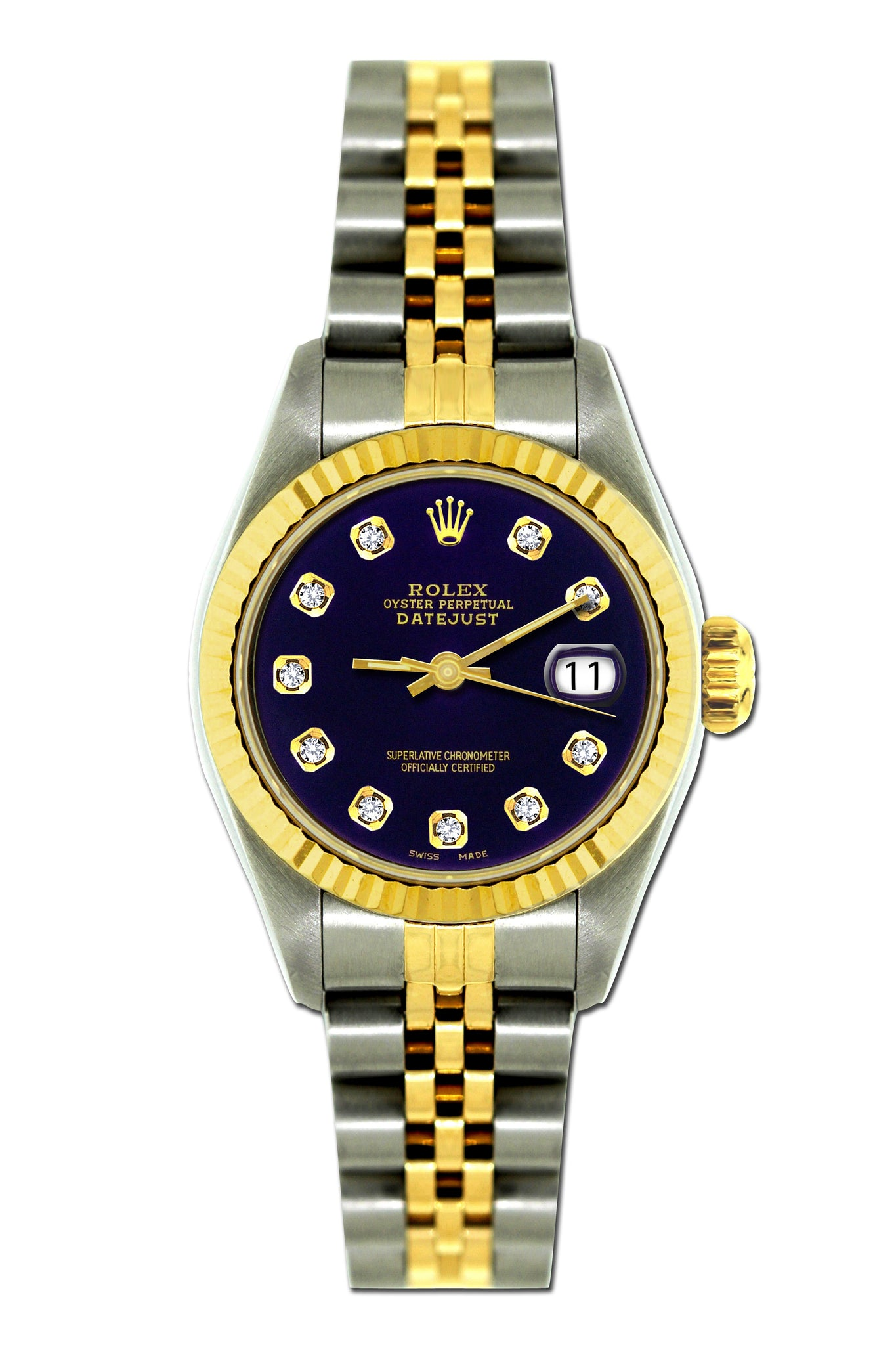 Rolex Datejust 26mm Yellow Gold and Stainless Steel Bracelet Black Russian Dial