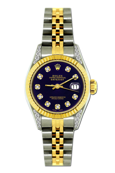 Rolex Datejust 26mm Yellow Gold and Stainless Steel Bracelet Black Russian Dial w/ Diamond Lugs