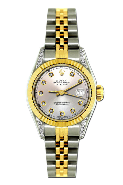 Rolex Datejust 26mm Yellow Gold and Stainless Steel Bracelet Cloudy Dial w/ Diamond Lugs