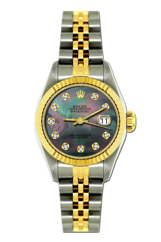 Rolex Datejust 26mm Yellow Gold and Stainless Steel Bracelet Black Mother of Pearl Dial
