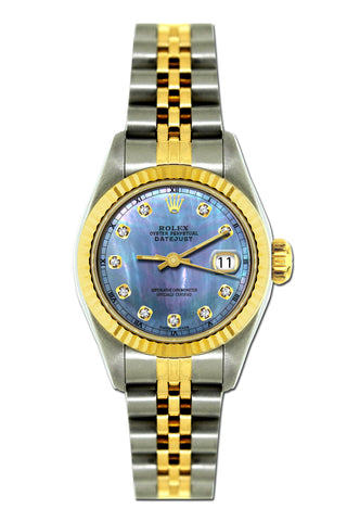 Rolex Datejust 26mm Yellow Gold and Stainless Steel Bracelet Blue Mother of Pearl Dial