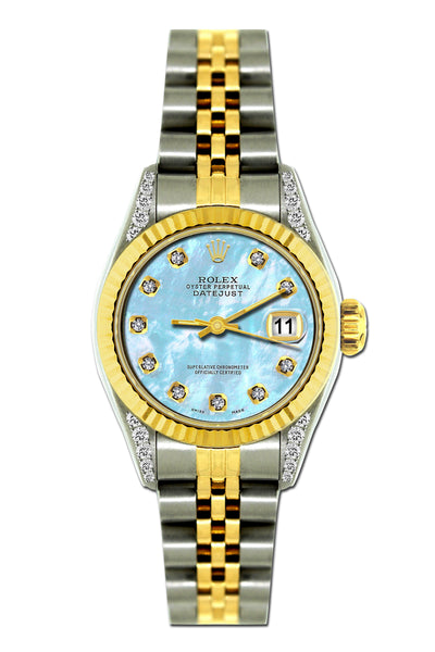 Rolex Datejust 26mm Yellow Gold and Stainless Steel Bracelet Pattens Blue Dial w/ Diamond Lugs