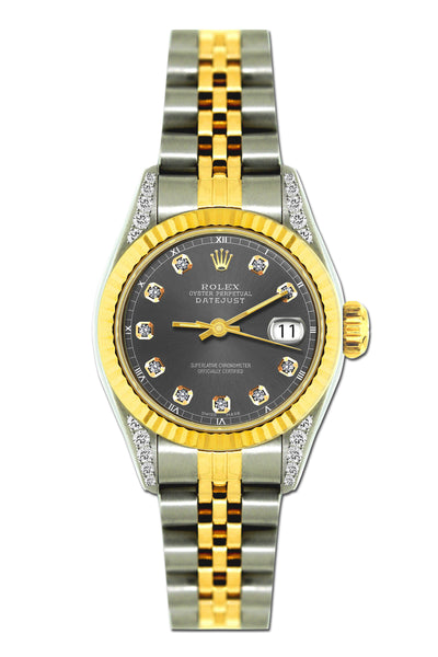 Rolex Datejust 26mm Yellow Gold and Stainless Steel Bracelet Borakay Gray Dial w/ Diamond Lugs