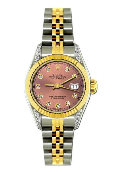 Rolex Datejust 26mm Yellow Gold and Stainless Steel Bracelet Coral Tree Dial w/ Diamond Lugs