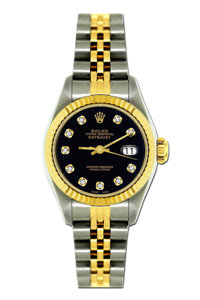 Original Rolex Datejust 26mm Yellow Gold and Stainless Steel Bracelet Black Dial