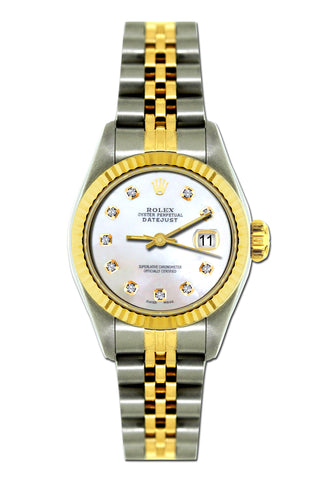 Rolex Datejust 26mm Yellow Gold and Stainless Steel Bracelet Seashell Dial