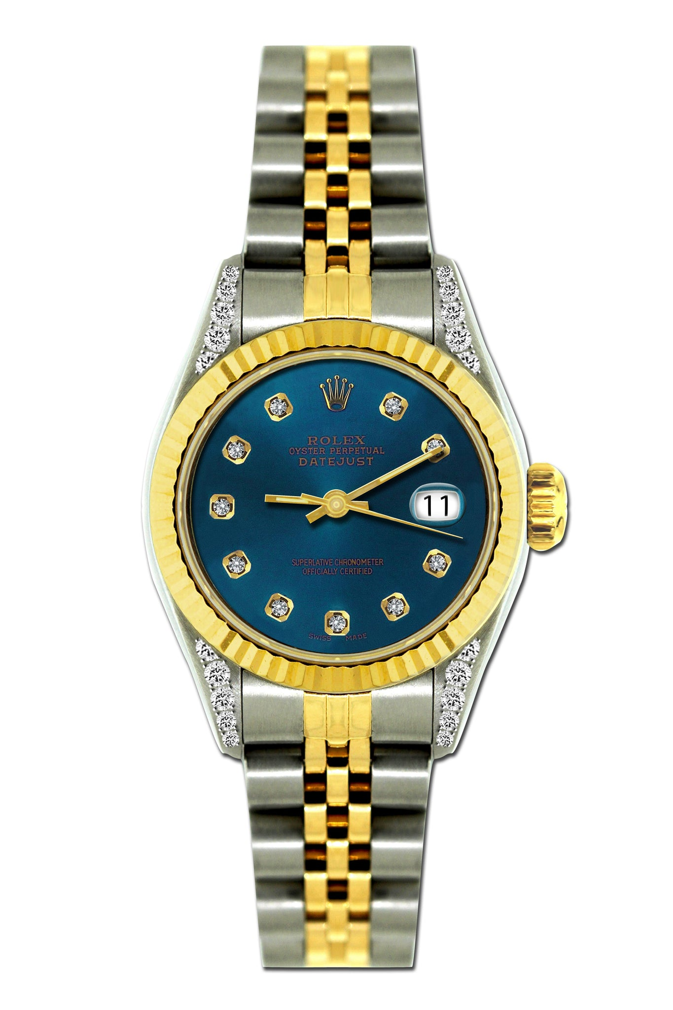 Rolex Datejust Diamond Watch, 26mm, Yellow Gold and Stainless Steel Bracelet Blue Whale Dial w/ Diamond Lugs