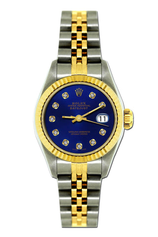 Rolex Datejust 26mm Yellow Gold and Stainless Steel Bracelet Sapphire Dial