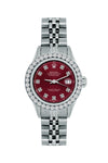 Rolex Datejust 26mm Stainless Steel Bracelet Bordeaux Dial w/ Diamond Bezel