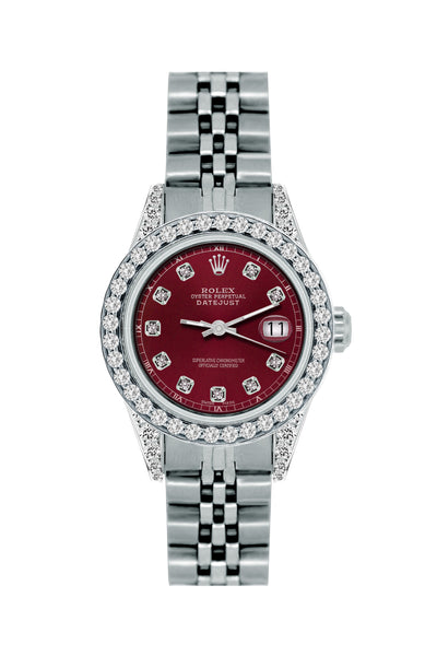 Rolex Datejust 26mm Stainless Steel Bracelet Bordeaux Dial w/ Diamond Bezel and Lugs