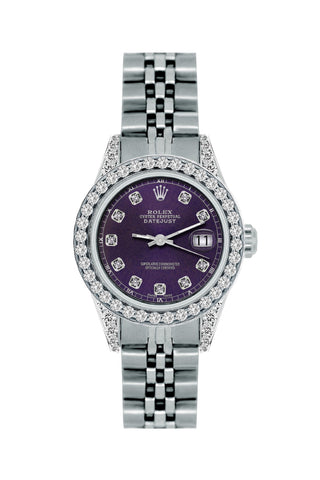 Rolex Datejust Diamond Watch, 26mm, Stainless SteelBracelet Black Rock Dial w/ Diamond Bezel and Lugs