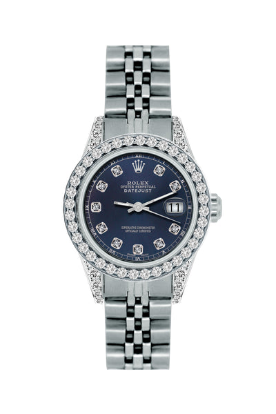 Rolex Datejust 26mm Stainless Steel Bracelet Midnight Express Dial w/ Diamond Bezel and Lugs