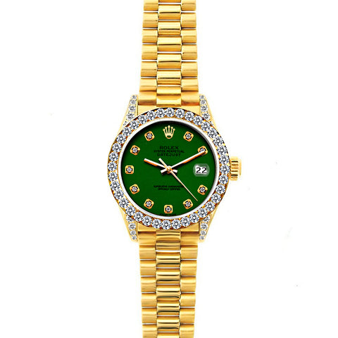 18k Yellow Gold Rolex Datejust Diamond Watch, 26mm, President Bracelet Myrtle Dial w/ Diamond Bezel and Lugs