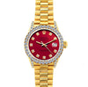 18k Yellow Gold Rolex Datejust Diamond Watch, 26mm, President Bracelet Cardinal w/ Diamond Bezel and Lugs