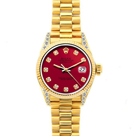 Rolex Datejust 26mm 18k Yellow Gold President Bracelet Cardinal Dial w/ Diamond Lugs