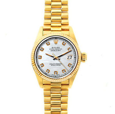 Rolex Datejust 26mm 18k Yellow Gold President Bracelet Old Lace Dial