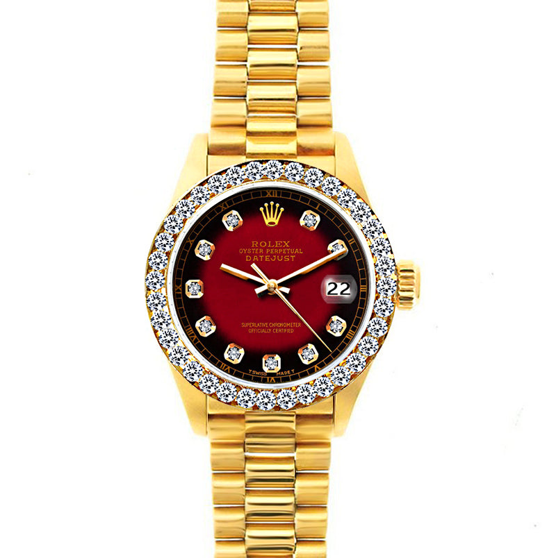 18k Yellow Gold Rolex Datejust Diamond Watch, 26mm, President Bracelet Red and Black Dial w/ Diamond Bezel