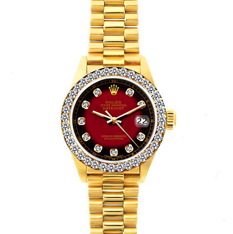 Rolex Datejust 26mm 18k Yellow Gold President Bracelet Red and Black Dial w/ Diamond Bezel