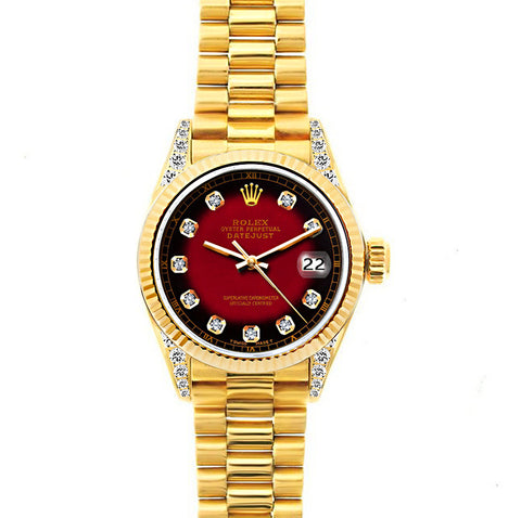 Rolex Datejust 26mm 18k Yellow Gold President Bracelet Red and Black Dial w/ Diamond Lugs