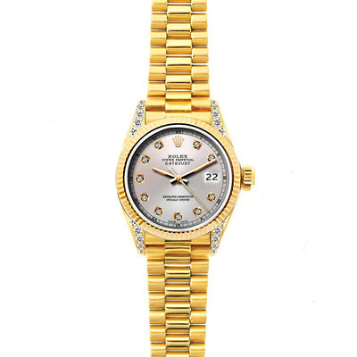 Rolex Datejust 26mm 18k Yellow Gold President Bracelet Echo Blue Dial w/ Diamond Lugs