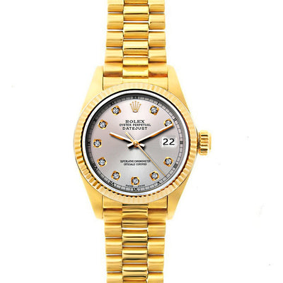 Rolex Datejust 26mm 18k Yellow Gold President Bracelet Echo Blue Dial