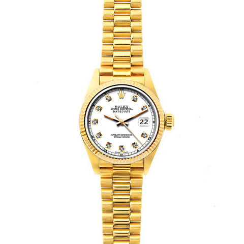 Rolex Datejust 26mm 18k Yellow Gold President Bracelet White Dial