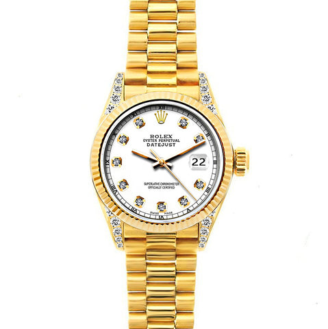 18k Yellow Gold Rolex Datejust Diamond Watch, 26mm, President Bracelet White Dial w/ Diamond Lugs