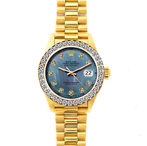 18k Yellow Gold Rolex Datejust Diamond Watch, 26mm, President Bracelet Pearl Blue Dial w/ Diamond Bezel