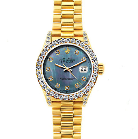 18k Yellow Gold Rolex Datejust Diamond Watch, 26mm, President Bracelet Pearl Blue Dial w/ Diamond Bezel and Lugs