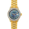 Rolex Datejust 26mm 18k Yellow Gold President Bracelet Blue Mother of Pearl w/ Diamond Bezel and Lugs