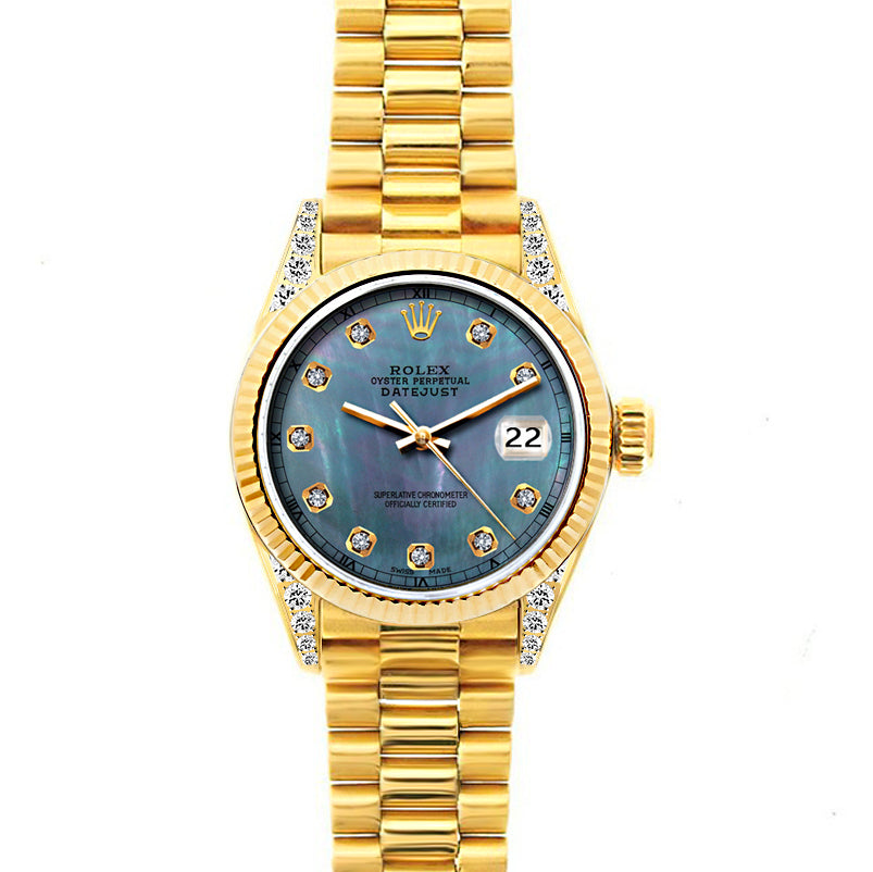 Rolex Datejust 26mm 18k Yellow Gold President Bracelet Black Mother of Pearl Dial w/ Diamond Lugs