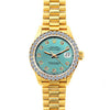 18k Yellow Gold Rolex Datejust Diamond Watch, 26mm, President Bracelet Blue Green Dial w/ Diamond Bezel