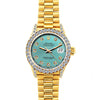 18k Yellow Gold Rolex Datejust Diamond Watch, 26mm, President Bracelet Blue Green Dial w/ Diamond Bezel and Lugs