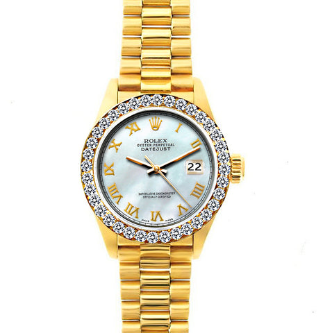 18k Yellow Gold Rolex Datejust Diamond Watch, 26mm, President Bracelet White Mother of Pearl Dial w/ Diamond Bezel