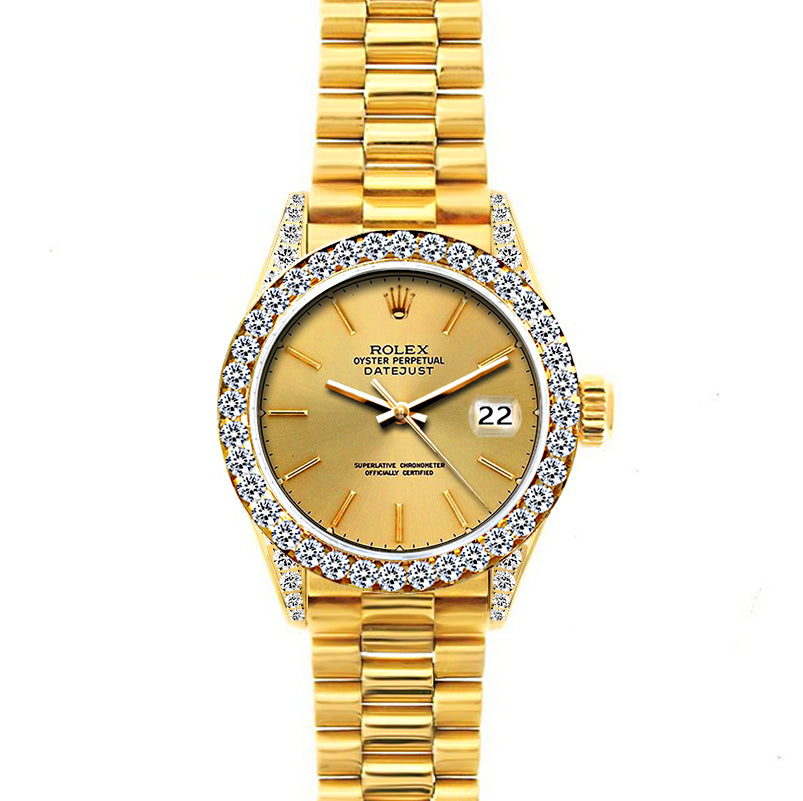 18k Yellow Gold Rolex Datejust Diamond Watch, 26mm, President Bracelet Yellow Gold Dial w/ Diamond Bezel and Lugs