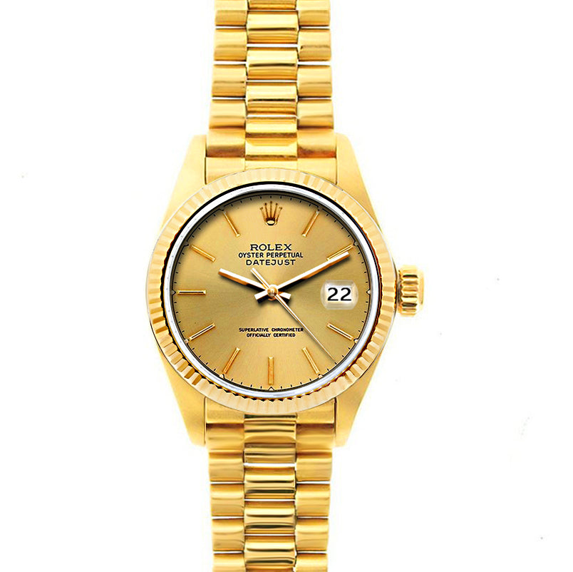 Rolex Datejust 26mm 18k Yellow Gold President Bracelet Yellow Gold Dial
