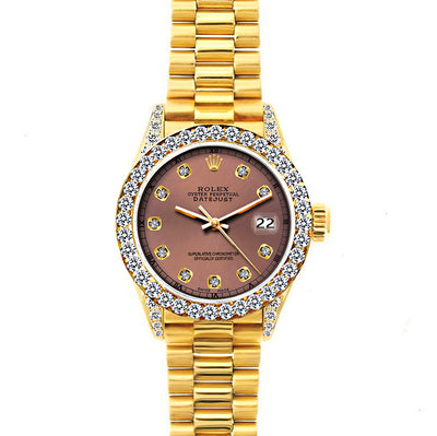 Rolex Datejust 26mm 18k Yellow Gold President Bracelet Earthern Dial w/ Diamond Bezel and Lugs