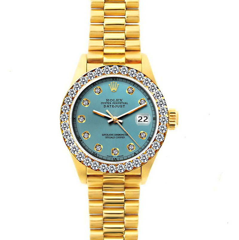 Rolex Datejust 26mm 18k Yellow Gold President Bracelet Ice Blue Dial w/ Diamond Bezel