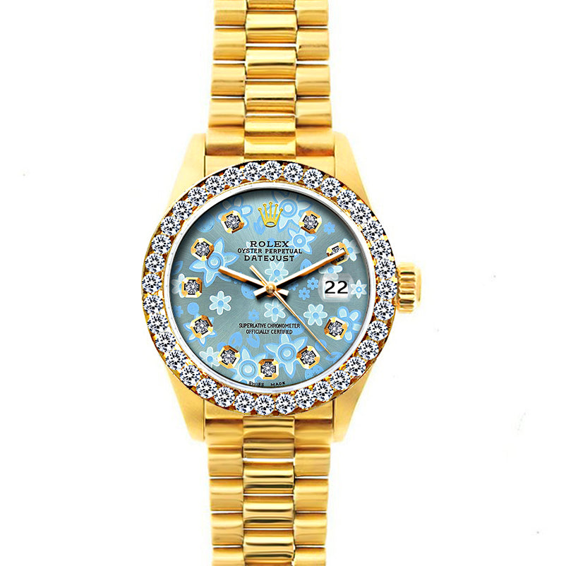 18k Yellow Gold Rolex Datejust Diamond Watch, 26mm, President Bracelet Ice Blue Flower Dial w/ Diamond Bezel
