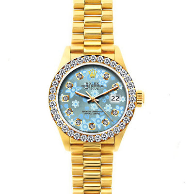 Rolex Datejust 26mm 18k Yellow Gold President Bracelet Ice Blue Flower Dial w/ Diamond Bezel