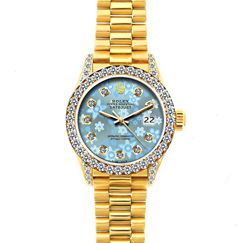 Rolex Datejust 26mm 18k Yellow Gold President Bracelet Ice Blue Flower Dial w/ Diamond Bezel and Lugs