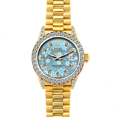 RolexDatejust 26mm 18k Yellow Gold President Bracelet Ice Blue Flower Dial w/ Diamond Bezel and Lugs