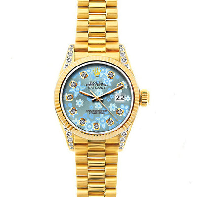 Rolex Datejust 26mm 18k Yellow Gold President Bracelet Ice Blue Flower Dial w/ Diamond Lugs