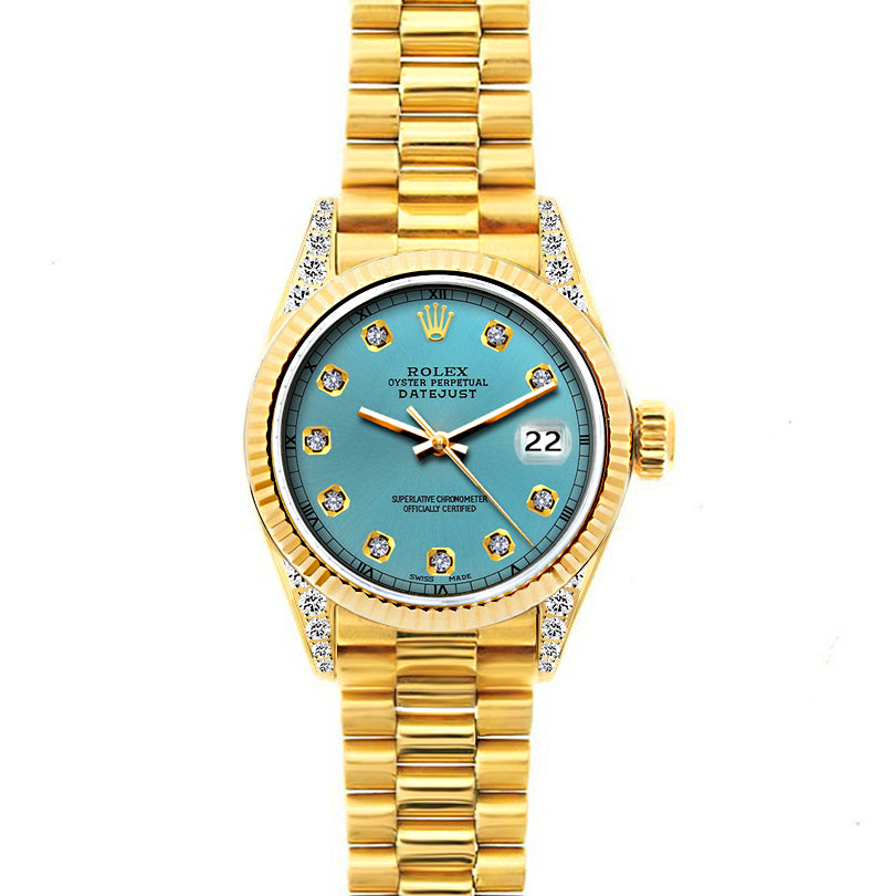 18k Yellow Gold Rolex Datejust Diamond Watch, 26mm, President Bracelet Ice Blue Dial w/ Diamond Lugs