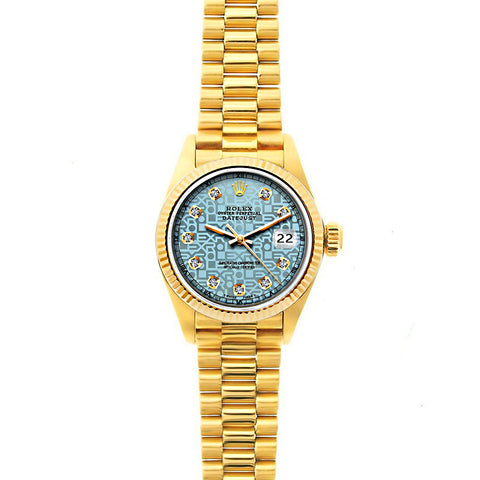 Rolex Datejust 26mm 18k Yellow Gold President Bracelet Ice Blue Rolex Dial